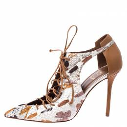 Malone Souliers Brown/Beige Python and Leather Montana Lace Up Pumps Size 40