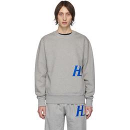 Helmut Lang Grey Monogram Crewneck Sweatshirt 201154M20404705GB