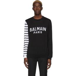 Balmain Black and White Logo Sweater 201251M20402406GB