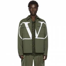 Valentino Khaki and White VLogo Jacket 201476M18000604GB