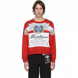 Moschino Red and White Budweiser Edition Logo Sweatshirt 201720M20410901GB