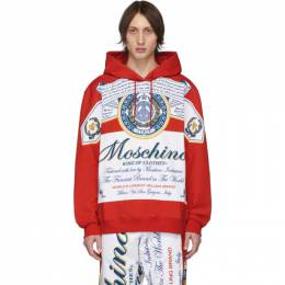 Moschino Red and White Budweiser Edition Logo Hoodie 201720M20209702GB