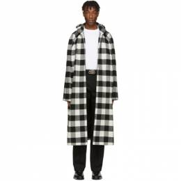 Balenciaga Black and White Flannel Hooded Coat 201342M17601104GB