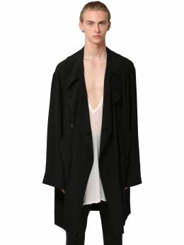 Double Breasted Acetate & Silk Parka Rick Owens 71IATE022-MDk1