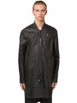 Zip-up Waxed Cotton Bomber Jacket Rick Owens 71IATE005-MDk1