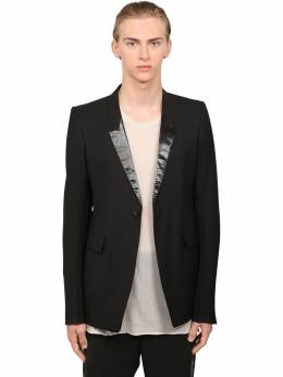 Wool Canvas Jacket W/ Waxed Lapels Rick Owens 71IATE003-MDk1