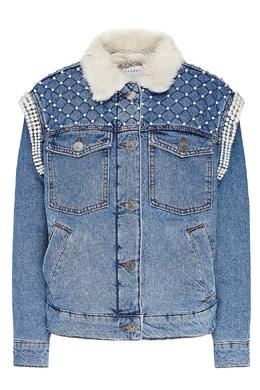 Джинсовая куртка на искусственном меху с декором Sandro 914168002
