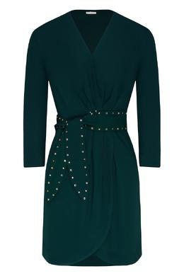 Темно-зеленое платье мини с поясом Sandro 914168004