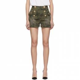 Balmain Green Denim Camouflage 6-Button Shorts 201251F08804101GB