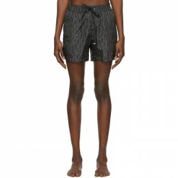 Salvatore Ferragamo Black and Off-White Signature Print Swim Shorts 201270M20805001GB