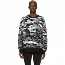 Marcelo Burlon County Of Milan Black and White Wool All-Over Mountains Sweater 201539M20104601GB