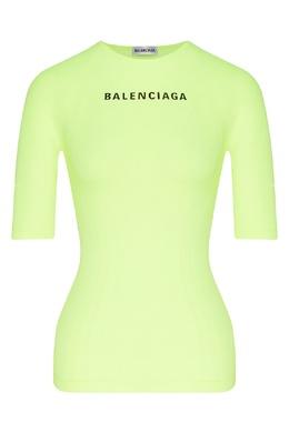 Неоново-желтая футболка с логотипом Balenciaga 397168647