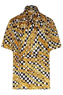 Блуза с комбинированным принтом и коротким рукавом Scarf Balenciaga 397168672