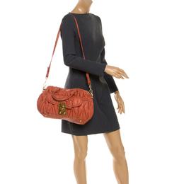 Miu Miu Orange Metalasse Leather Coffer Top Handle Bag