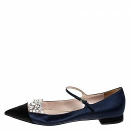 Miu Miu Blue/Black Satin Crystal Embellished Mary Jane Pointed Toe Ballet Flats Size 38.5
