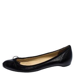 Christian Louboutin Black Leather Bow Ballet Flats Size 40.5 249138