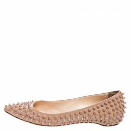 Christian Louboutin Beige Patent Leather Spike Pointed Toe Ballet Flats Size 38 250503