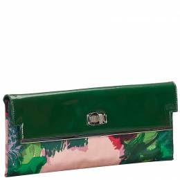 Balenciaga Green Satin And Patent Leather Clutch Bag