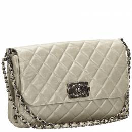 Chanel Gray Matelasse Leather Boy Flap Bag 247552