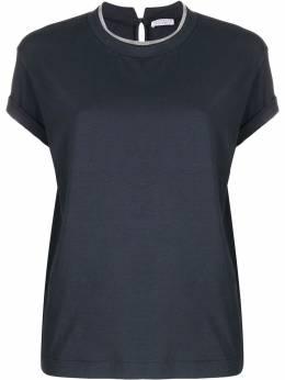 Brunello Cucinelli декорированная футболка с круглым вырезом M0T18BD200C7186