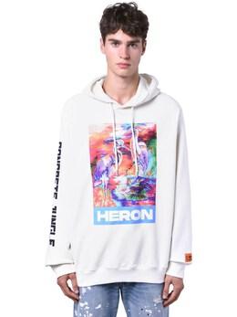 Print Heron Cotton Jersey Hoodie Heron Preston 71IWHP018-MDE4OA2