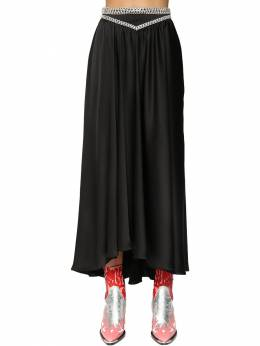 Satin Midi Skirt W/ Crystals Paco Rabanne 71IMDQ045-UDAwMQ2