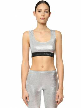 Stretch Lurex Jersey Crop Top Paco Rabanne 71IMDQ041-UDA0MA2