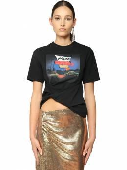 Knotted Print Cotton Jersey T-shirt Paco Rabanne 71IMDQ032-UDAwMQ2