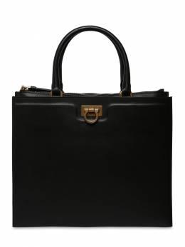 Gancio Squared Leather Top Handle Bag Salvatore Ferragamo 71IG7Y004-NzI0NjAy0