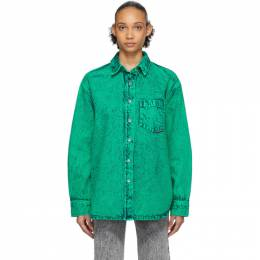 Alexander Wang Green Denim Acid Oversized Shirt 4DC1202660