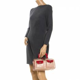 Moschino Beige/Red Crocodile Embossed Leather Top Handle Bag