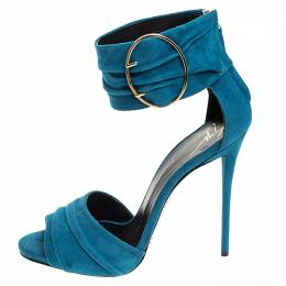 Giuseppe Zanotti Design Teal Suede Peep Toe Ringed Ankle Strap Sandals Size 37.5