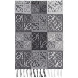 Loewe Black and White Cashmere Anagram Scarf 928.28.089