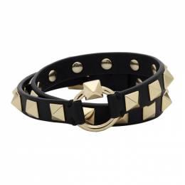 Valentino Black Valentino Garavani Rockstud Wrap Bracelet TY2J0M45PND