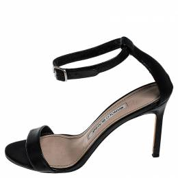 Manolo Blahnik Black Leather Chaos Ankle Strap Sandals Size 36
