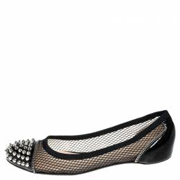 Christian Louboutin Black Patent Leather and Mesh Spike Ballet Flats Size 37.5 251505