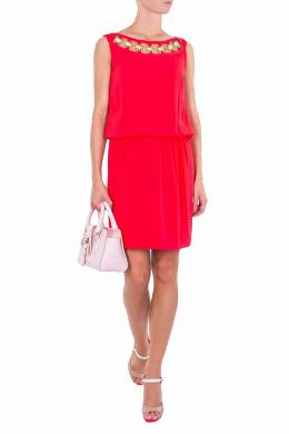 Красное платье с металлическим декором Luisa Spagnoli 3090170730