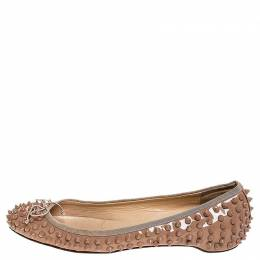Christian Louboutin Beige Patent Leather Spike Pointed Toe Ballet Flats Size 39 252395