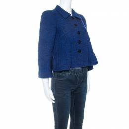 Armani Collezioni Blue Boucle Knit Wool Pleated Detail Blazer S