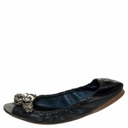 Miu Miu Blue Leather Crystal Embellished Open Toe Scrunch Ballet Flats Size 36.5