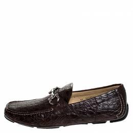 Salvatore Ferragamo Brown Crocodile Leather Parigi Horsebit Slip On Loafers Size 45