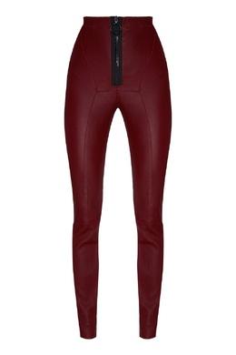 Бордовые кожаные леггинсы на молнии Off-White 2202166622