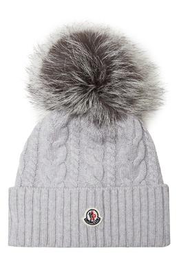 Серая шапка с косами и меховым помпоном Moncler 34166625
