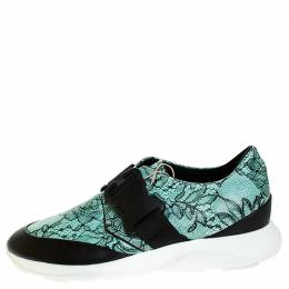 Christopher Kane Black/Blue Lace Print Leather Safety Buckle Low Top Sneakers Size 38 252344