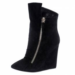 Giuseppe Zanotti Design Black Suede Wedge Ankle Boots Size 37.5