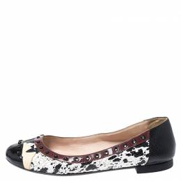 Fendi Multicolor Embossed Python And Lizard, Patent Leather Trim And Cap Toe Monster Ballet Flats Size 37