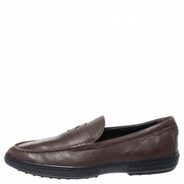 Tod's Brown Leather Slip On Penny Loafers Size 44 Tod's