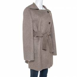 Max Mara Light Brown Cashmere Double Breasted Hand Cut Coat M 252454