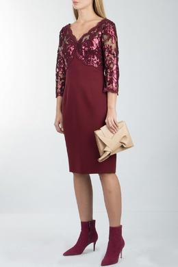 Бордовое платье с кружевом и пайетками Luisa Spagnoli 3090170295