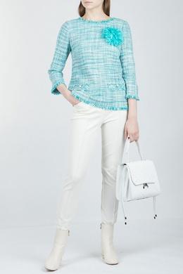 Бирюзовая блуза из меланжа Luisa Spagnoli 3090170160
